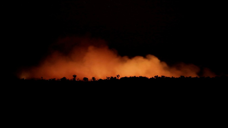 A fire in an area of the Amazon rainforest near Humaita, Amazonas State, Brazil.