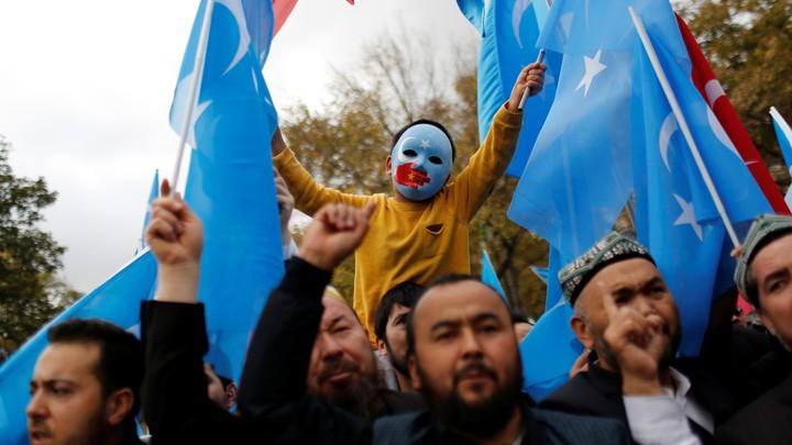 A boy in a blue mask raises two East Turkestan flags in a march.