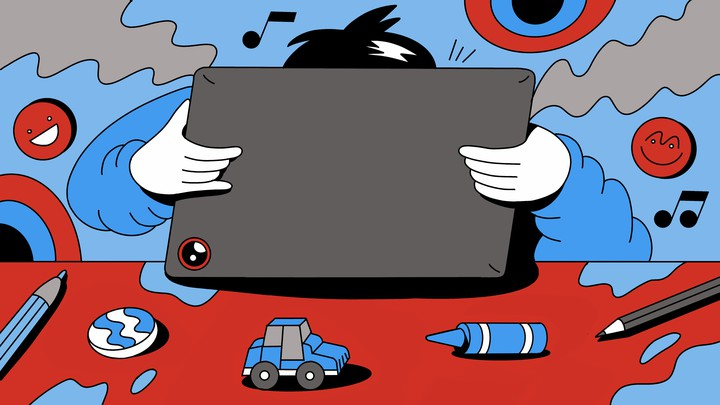 An illustration of a child banging their head against a laptop, leaning on a table with a toy car and a crayon
