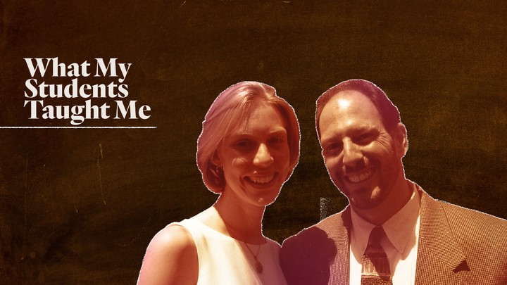A custom illustration featuring Matt Weiss and Kate Schelbe superimposed on the image of a chalkboard.