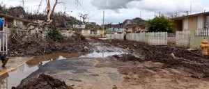 Mud covers a street in Ciales, Puerto Rico, 10 days after Hurricane Maria devastated the town.