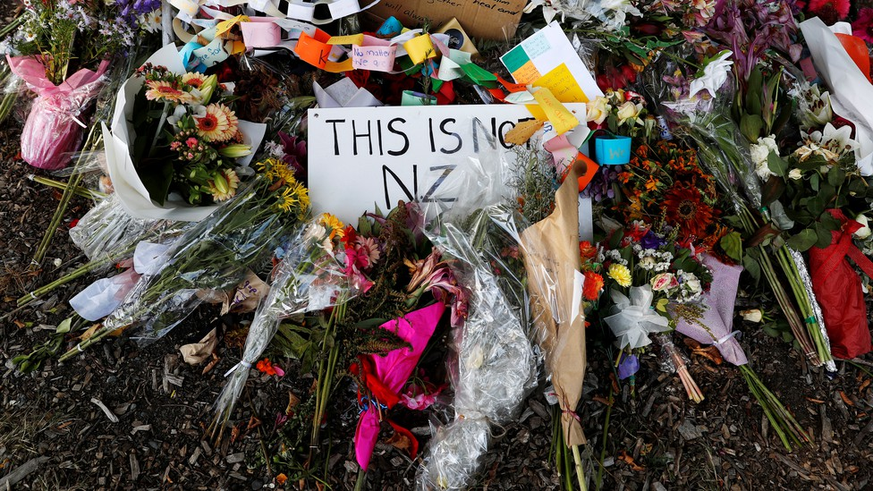 Flower tributes outside the Al-Noor mosque after it was reopened in Christchurch, New Zealand