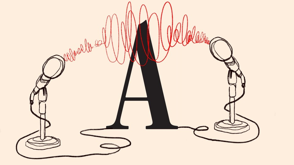 """An illustration of the Atlantic """"A"""" surrounded by two microphones, with red scribbles going between them"""