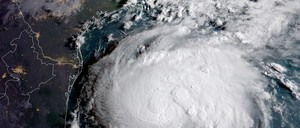 A NOAA satellite captures Hurricane Harvey spinning in the Gulf of Mexico in the days before it made landfall.