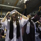 Students cheer at Kalamazoo Central High School graduation.