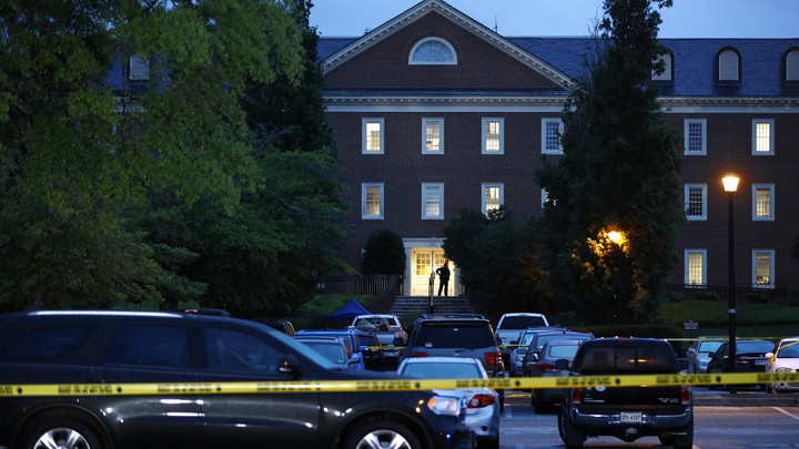 The municipal building, the scene of the shooting, surrounded by yellow tape