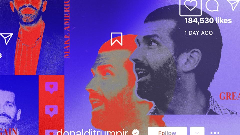 Collage image of Donald Trump Jr. and social-media symbols
