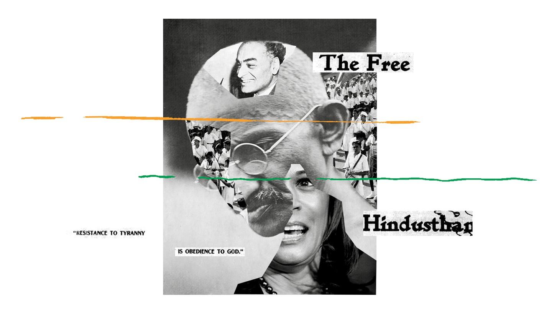 A collage including images of J. J. Singh, Kamala Harris, and Mahatma Gandhi