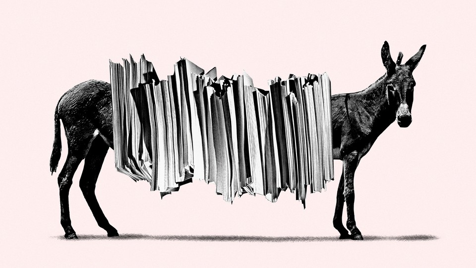 An illustration of a donkey with large stack of papers stretching over the the body