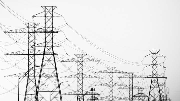 A view of high-voltage transmission towers