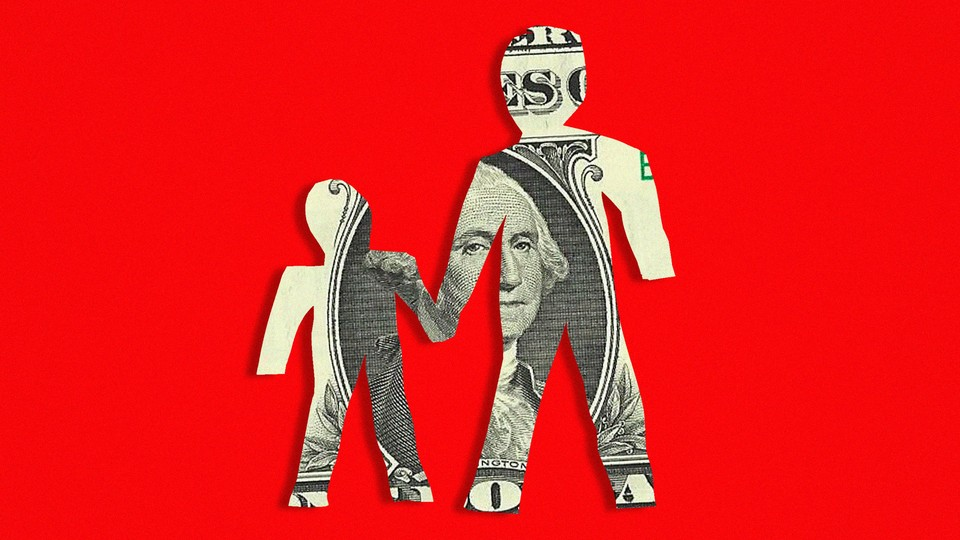 An illustration of two people—an adult and a child—cut out of a dollar bill