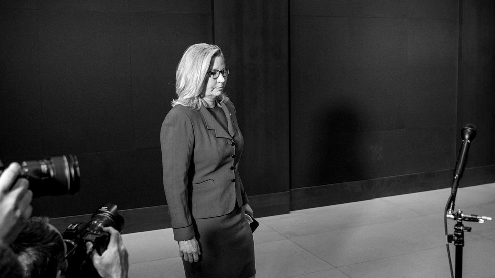 A black and white photo of Liz Cheney standing by herself
