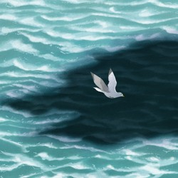 An illustration of a kittiwake flying over the sea