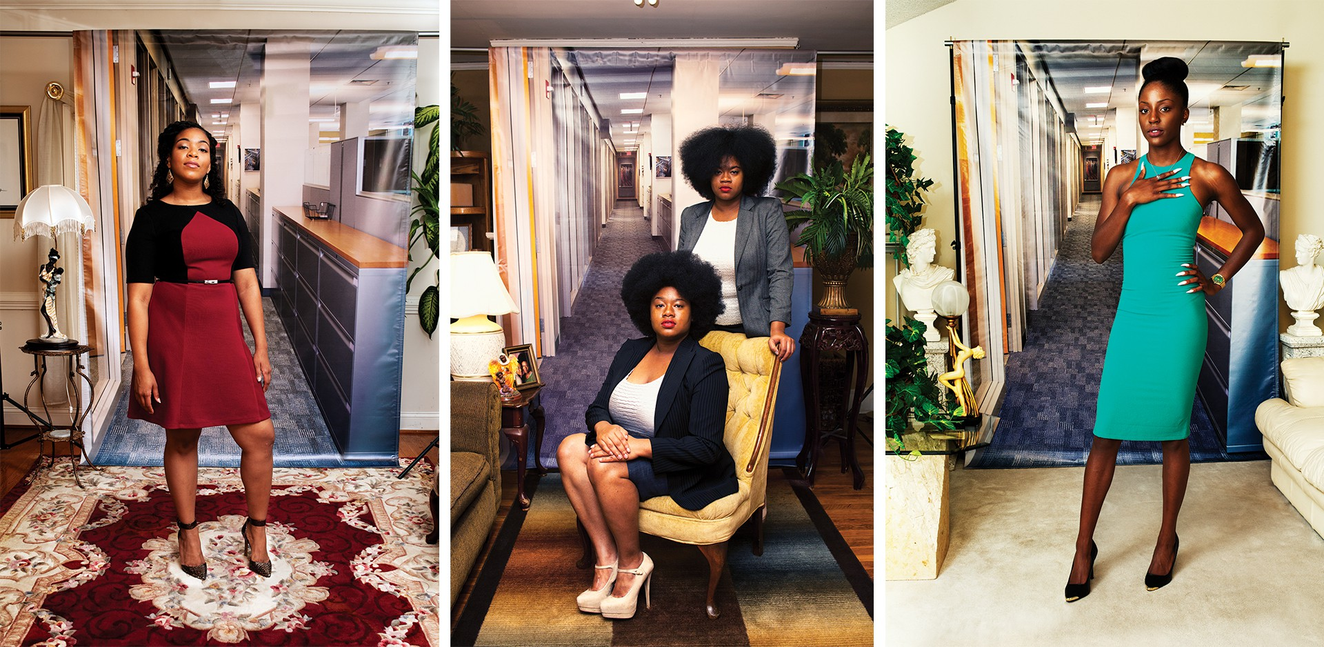 "3 photographs from Endia Beal's series ""Am I What You're Looking For?"""