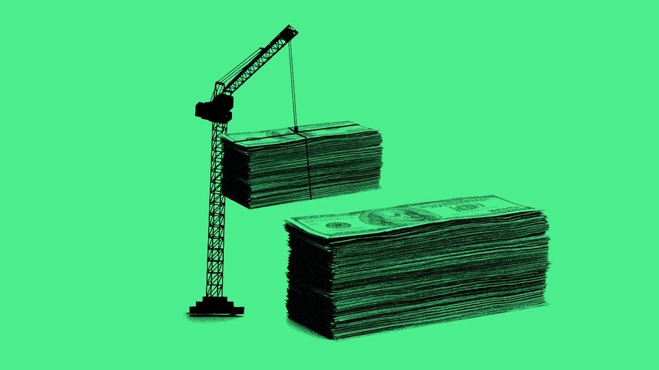 Illustration of a crane lifting stacks of money.