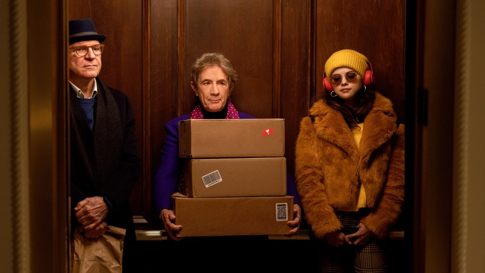 """Steve Martin, Martin Short, and Selena Gomez in Hulu's """"Only Murders in the Building"""""""
