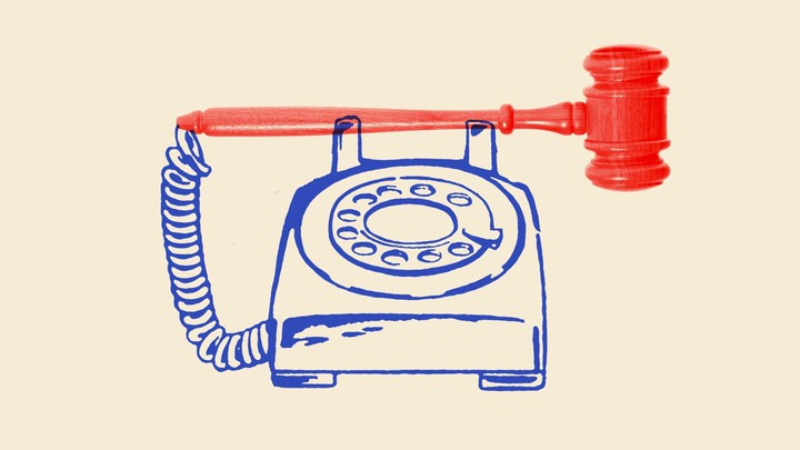 An illustration of a phone with a gavel.