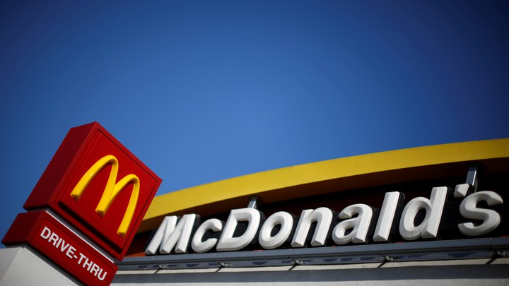 The logo of McDonald's is seen in Los Angeles, California.