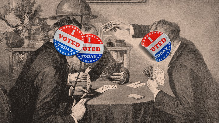 """An illustration of men playing poker with """"I voted today"""" stickers over their faces"""