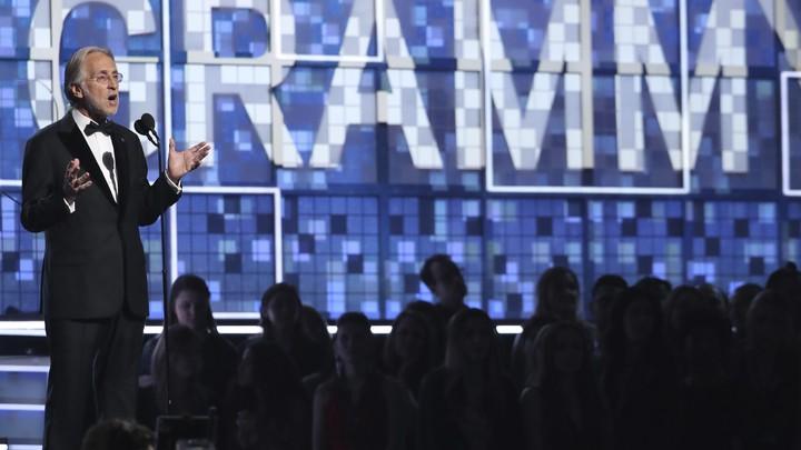 Neil Portnow speaks at the 2019 Grammys.