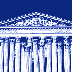 A blue-tinged illustration of the Supreme Court building, shown with extra marble columns
