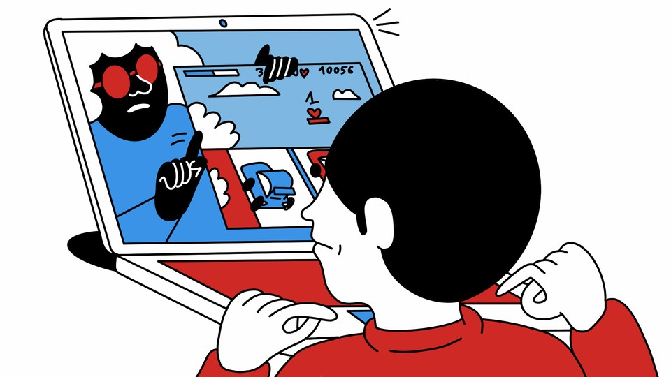 An illustration of a boy looking at a laptop, with an older woman on the screen holding up a worksheet