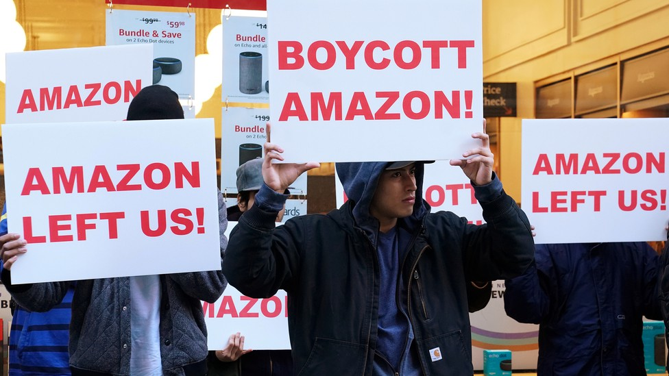 Demonstrators protest Amazon's decision not to open an office in Queens.