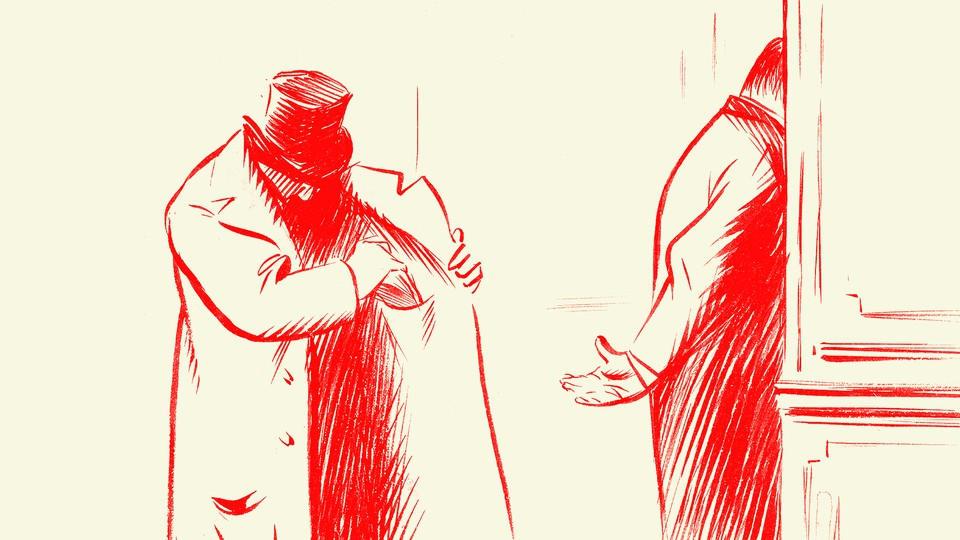 An illustration of a man slipping money out of his coat to hand to another man