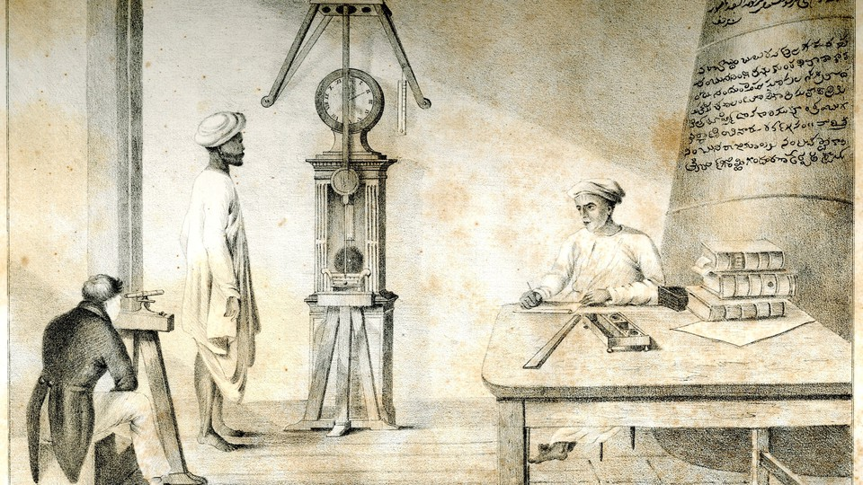 European and Indian men use 19th-century astronomical and scientific instruments.