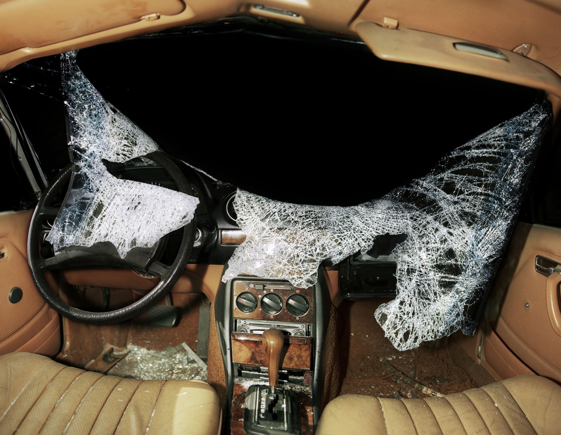 broken in dashboard of wrecked car