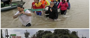 In this photo combination, evacuees wade down Tidwell Road in Houston on August 28, 2017, top, as floodwaters from Tropical Storm Harvey rise, and a car drives down the same road on September 5, bottom, after the water receded.