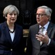 Britain's Prime Minister Theresa May welcomes Head of the European Commission, President Jean-Claude Juncker to Downing Street on April 26, 2017.