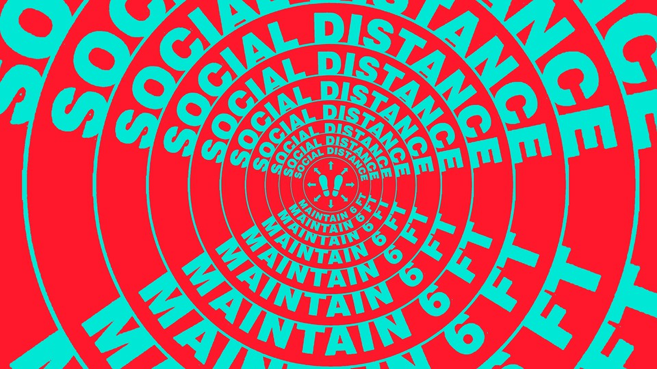 A series of social-distancing warnings arranged in concentric circles