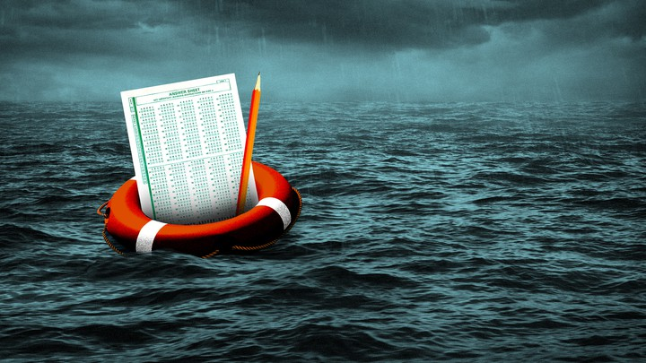 An illustration of a lifesaver with a standardized-test answer sheet and pencil afloat