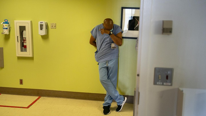 A health-care worker in a hospital.
