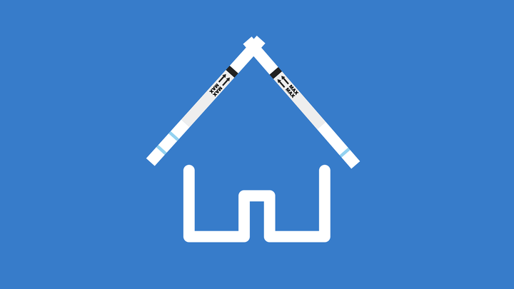 The white outline of a house against a blue background. Its roof is represented by two test strips.