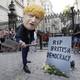 Protester in Boris Johnson mask