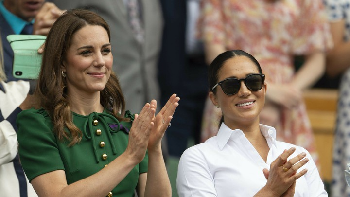 A photo of Meghan Markle and Kate Middleton at the Wimbledon Tennis Championships.