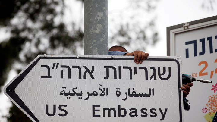 A road sign to the U.S. embassy posted in Jerusalem