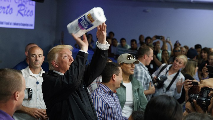 President Trump visits an aid-distribution center in Puerto Rico on October 3, 2017.