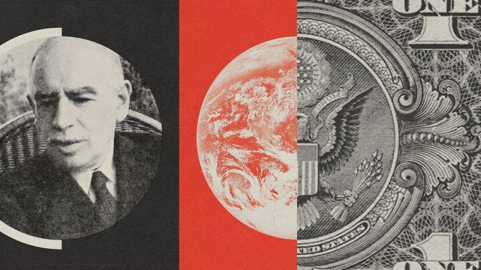 An illustration of John Maynard Keynes, the planet, and the U.S. eagle
