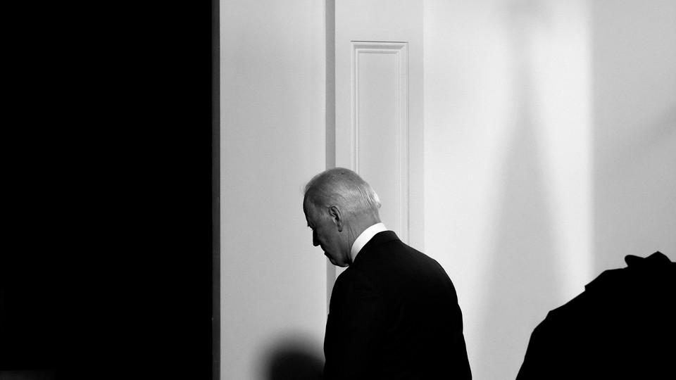 President Joe Biden departs after speaking about COVID-19 at the White House complex on August 23