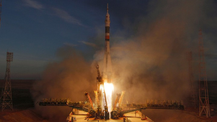 A rocket carrying a three-person crew launches to space from Kazakhstan.
