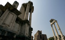 """A view of the """"Temple of Dioscuri"""" at Fori Imperiali in Rome"""
