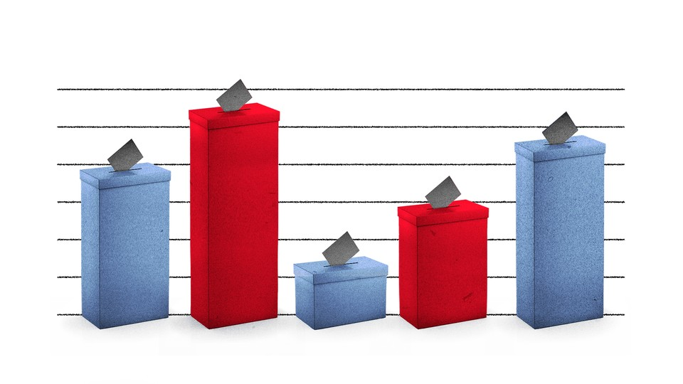 Red and blue ballot boxes of varying heights