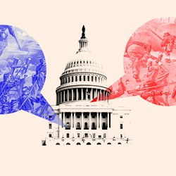An illustration of the U.S. Capitol with red and blue speech bubbles.