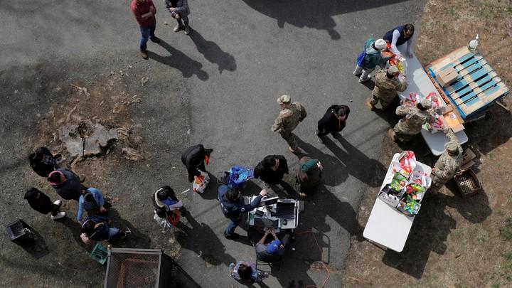 The National Guard providing food.