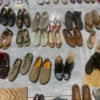 Shoes left at the Hurricane Maria memorial near Puerto Rico's Capitol in San Juan