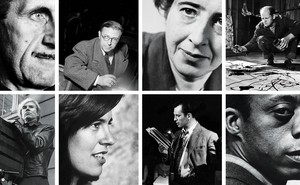 8 black and white photos in a grid: George Orwell, Jean-Paul Sartre, Hannah Arendt, Jackson Pollock, Andy Warhol, Susan Sontag, Jack Kerouac, James Baldwin.