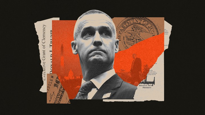 An illustration shows former Trump campaign manager Corey Lewandowski and scraps of paper featuring an Executive Grant of Clemency, money, and Donald Trump's signature.
